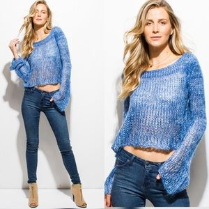 Sweaters - New Arrival ! Off Shoulder Crochet Blue sweater